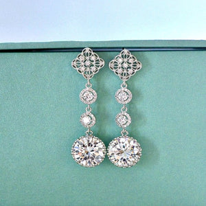 Long Bridal Earrings. Long Round Cubic Zirconia Diamond Shape Post Earrings. Bridal Drop Dangle Wedding Earrings. Bridesmaid Earrings