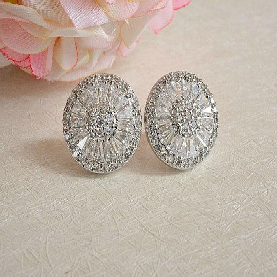 White Gold Wedding Stud Earrings. Round Crystal Bridal Stud Earrings. CZ Art Deco Statement Stud Earrings. Bridesmaid Gift Stud Earrings