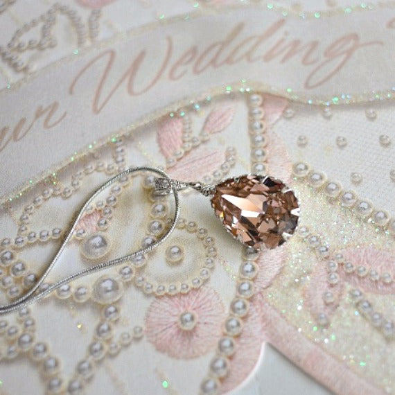 Vintage Rose Peach Teardrop Swarovski Crystals Bridal Earrings Necklace Set. Blush Bridal Jewelry. Bridesmaids Rose Peach Wedding Jewelry.