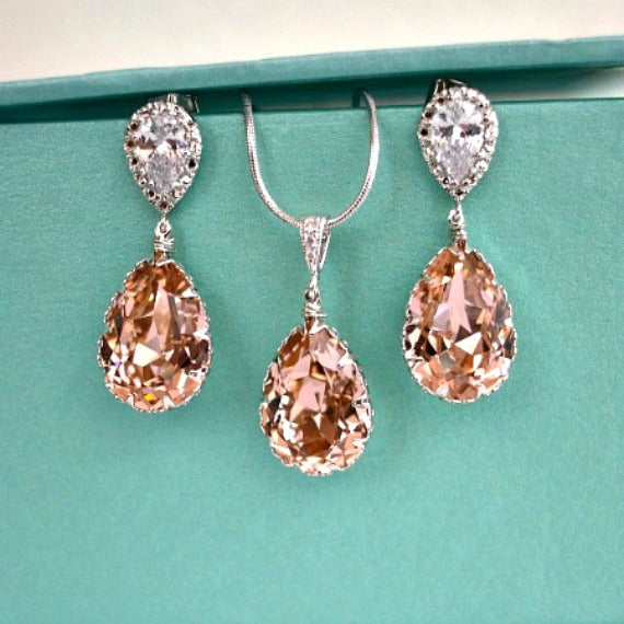 0b8c894dbaea5 Vintage Rose Peach Teardrop Swarovski Crystals Bridal Earrings Necklace  Set. Blush Bridal Jewelry. Bridesmaids Rose Peach Wedding Jewelry.