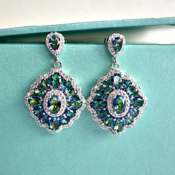 Mystic Peacock Blue Green Rhombus Bridal Earrings. Vitrail Iridescent Crystal Wedding Earrings. Art Deco Chandelier Earrings, CZ Earrings