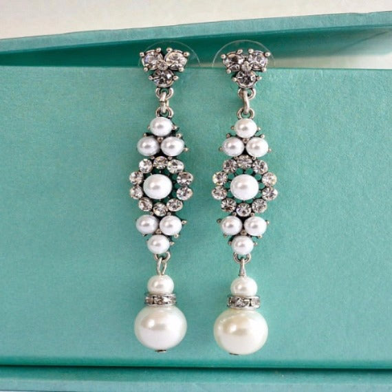Floral Crystal Pearl Chandelier Earrings, Crystal Bridal Pearl Earrings, Rhinestone Dangle Wedding Earrings, Vintage Style Bridal Earrings