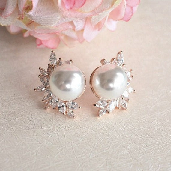 Rose Gold Bridal Pearl Stud Earrings, Pearl Marquise CZ Leaf Crystals Wedding Stud Earrings, Vintage Style Art Deco Bridal Earrings