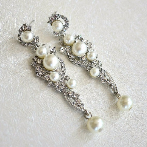 Pearl Drop Chandelier Earrings. Long Pearl Wedding Earrings. Rhinestone Dangle Earrings. Pearl Bridal Earrings. Vintage Style Pearl Earrings