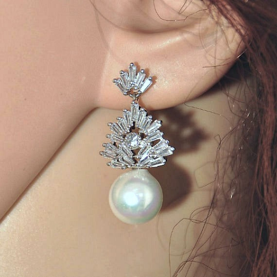 Crystal Pearl Drop Bridal Earrings. CZ Pearl Wedding Earrings. Art Deco Zirconia Dangling Stud Earrings. Bridesmaid Earring. Wedding Jewelry