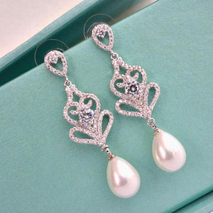 CZ pearl drop bridal earrings