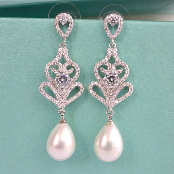 art deco pearl wedding earrings