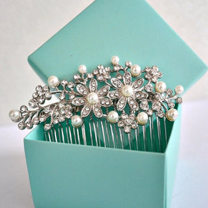 Rhinestone Crystal Flowers Leaves Pearls Wedding Hair Comb. Flower Bridal Hair Comb. Art Deco Pearl Hair Piece. Floral Bridal Hair Accessory