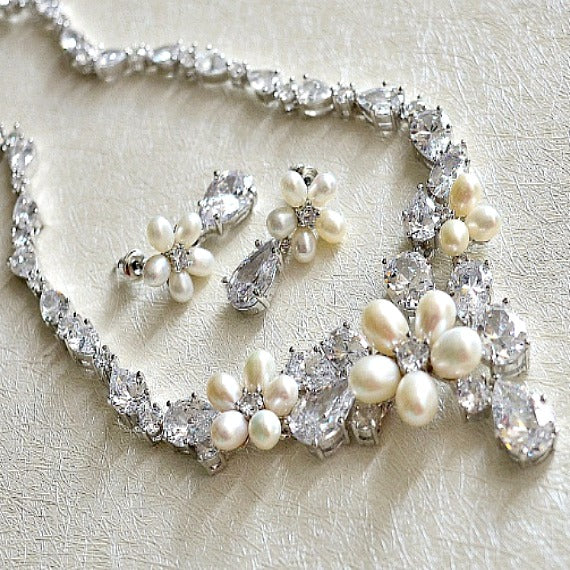 Floral Pearl And Crystal Wedding Necklace Earrings Set. CZ Pearl Bridal Jewelry Set. Cubic Zirconia Wedding Jewelry. Bridesmaid Jewelry Set