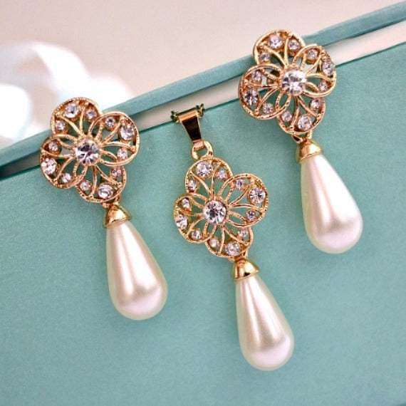 Gold Floral Deco Pearl Bridal Jewelry Set Flower Crystals Pearl