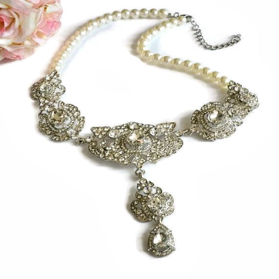 Pearl Rhinestone Wedding Necklace, Crystal Filigree Bridal Necklace, Victorian Statement Choker Necklace, Vintage Style Wedding Jewelry
