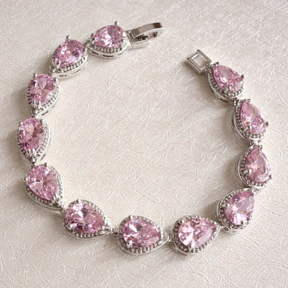 blush pink crystal bridal bracelet