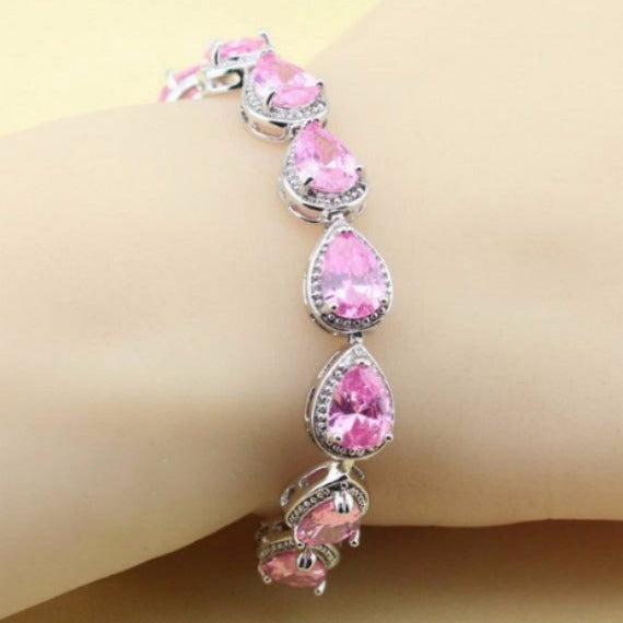 blush pink wedding bridesmaid link bracelet