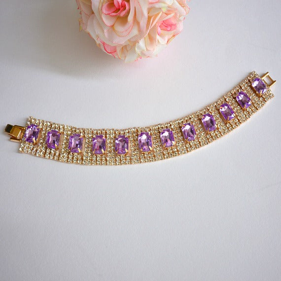 Lavender Rhinestone Bridal Bracelet. Lilac Wedding Bracelet. Purple Wedding Link Bracelet. Purple Wedding Tennis Bracelet. Bridesmaid Gift.
