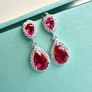 Cubic Zirconia Ruby Teardrop Chandelier Bridal Earrings, Red Ruby Wedding Earrings, Siam Earrings, Red CZ Crystal Drop Bridesmaid Earrings