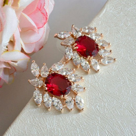 red rose gold bridal earrings