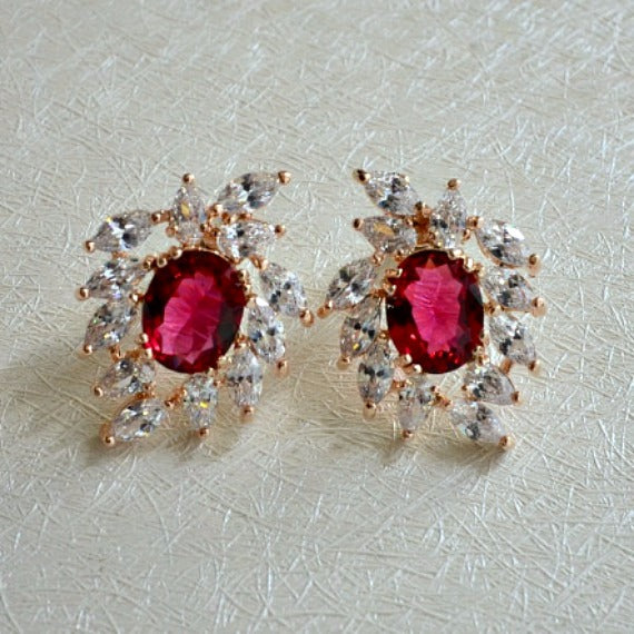 cluster stud bridal earrings