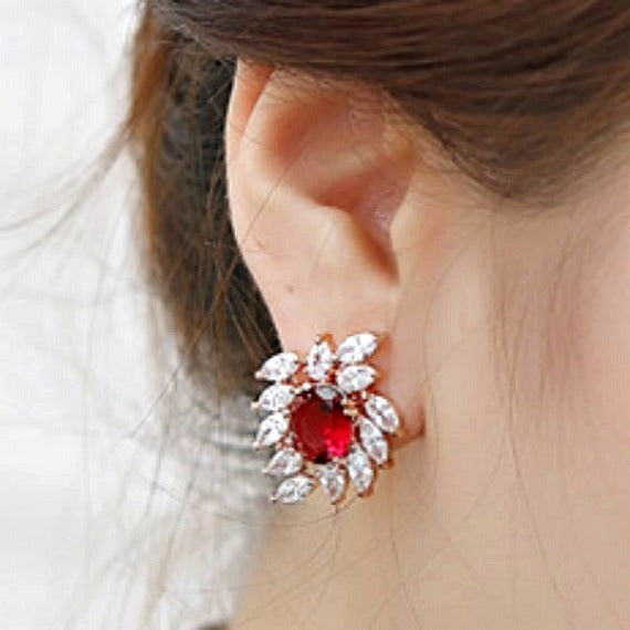 red ruby crystal bridal earrings