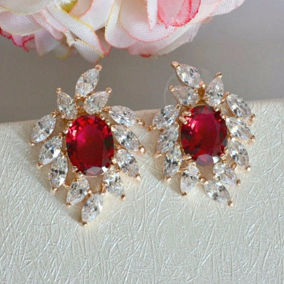 ruby red wedding earrings