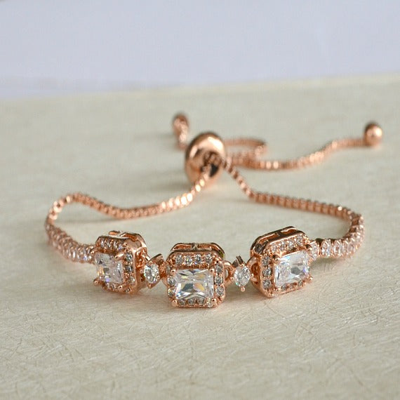 Rose Gold Halo Square Crystal Bridal Bracelet, CZ Crystal Wedding Bracelet, Bangle Bracelet, Adjustable Slide Bracelet, Bridesmaid Bracelet