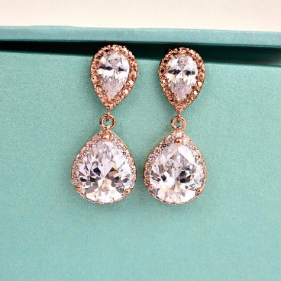 77a0b732df010 LUX Rose Gold Bridal Earrings, Rose Gold Cubic Zirconia Teardrop Earrings,  Blush Wedding, Wedding Jewelry, Bridesmaids Earrings, Bridal Gift
