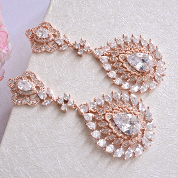 rose gold crystal chandelier earrings