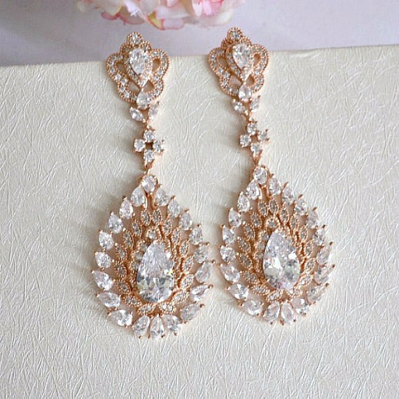 rose gold bridal drop earrings
