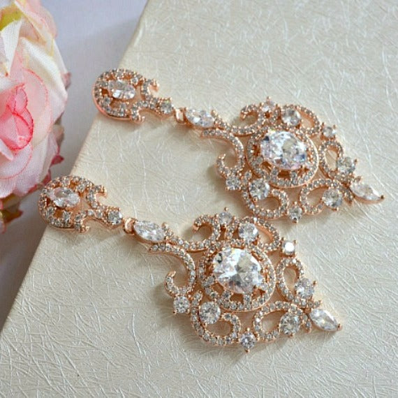 Rose Gold Art Deco Wedding Earrings. Long Crystal CZ Chandelier Wedding Earrings. Victorian Dangle Wedding Earrings. Vintage Bridal Earrings