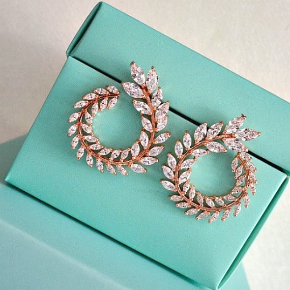 Rose Gold Laurel Wreath Crystal Bridal Earrings, CZ Grecian Leaves Wedding Stud Earrings, Rose Gold Leaf Earrings, Greek Goddess Earrings