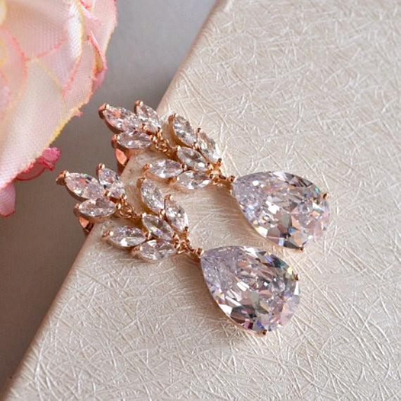 Rose Gold Art Nouveau Marquise Leaf Bridal Earrings, Crystal Leaf Teardrop Earrings, Dangle Drop Earrings, Bridesmaid Wedding Bridal Jewelry