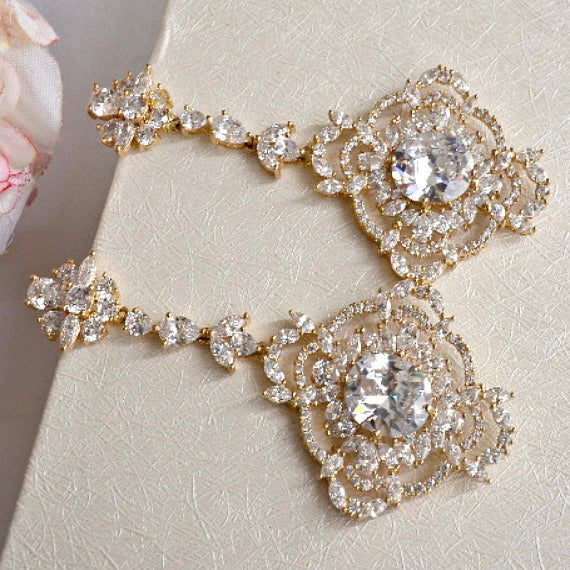 Rose Gold Art Deco CZ Crystal Wedding Earrings, Long Cubic Zirconia Bridal Earrings, Vintage Style Chandelier Earrings, Statement Earrings