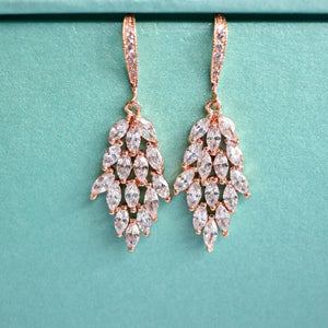rose gold leaf bridal earrings