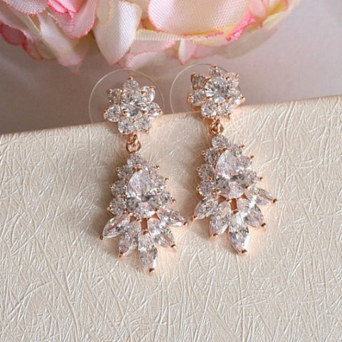 Rose Gold Art Deco Floral Bridal Earrings. Rose Gold Cubic Zirconia Crystal Dangle Earrings. Rose Gold Marquise CZ Crystal Wedding Earrings.