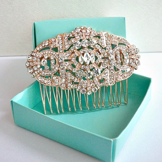 Rose Gold Art Deco Old Hollywood Great Gatsby Bridal Hair Comb. Vintage Style Wedding Headpiece. Rhinestone Crystal Bridal Hair Comb.