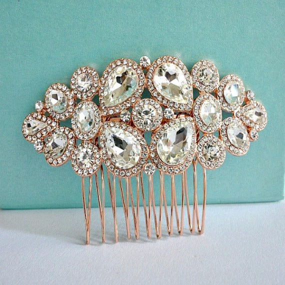 Blush Rose Gold Wedding Hair Comb, Bridal Crystal Hair Comb, Crystal Headpiece, Blush Wedding Hair Piece, Rhinestone Bridal Hair Jewelry