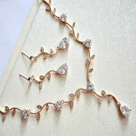 Rose Gold Crystal Vine Y Necklace And Earrings Set. CZ Crystal Wedding Necklace Set, Rose Gold Bridal Wedding Jewelry Set. Blush Wedding.