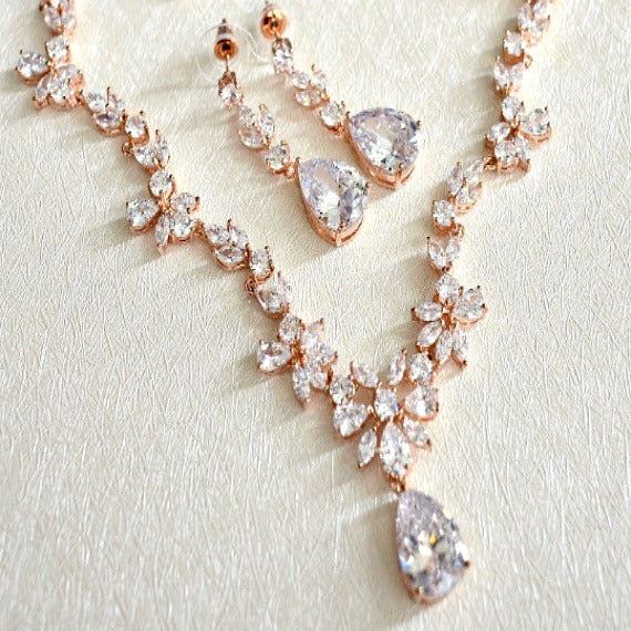 Rose Gold Cubic Zirconia Bridal Jewelry Set. CZ Crystal Wedding Necklace Set. Rose Gold Floral Vine Necklace Earrings Wedding Jewelry Set.