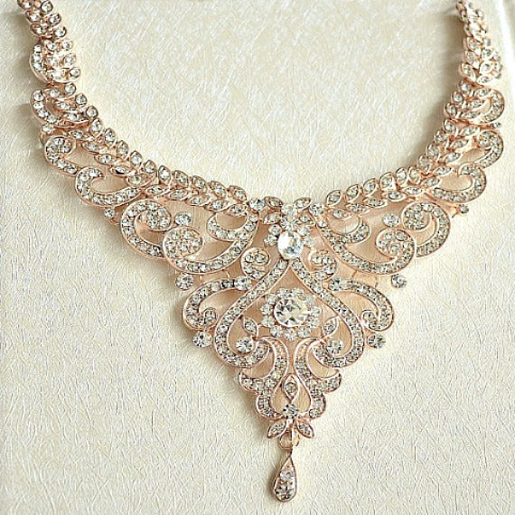Rose Gold Crystal Bridal Jewelry Set. Rose Gold Rhinestone Wedding Jewelry Set. V Shape Statement Crystal Bridal Bib Necklace Earrings Set.
