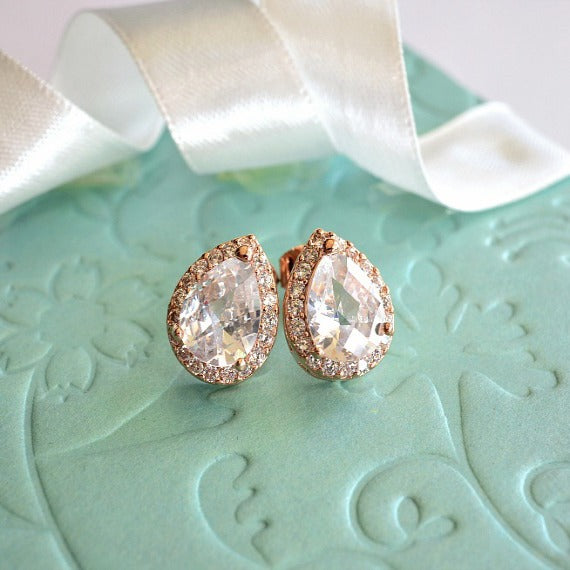 Rose Gold Plated Crystal Bridal Post Studs, LUX Cubic Zirconia Teardrop Wedding Stud Earrings, Rose Gold CZ Drop Bridesmaid Earrings