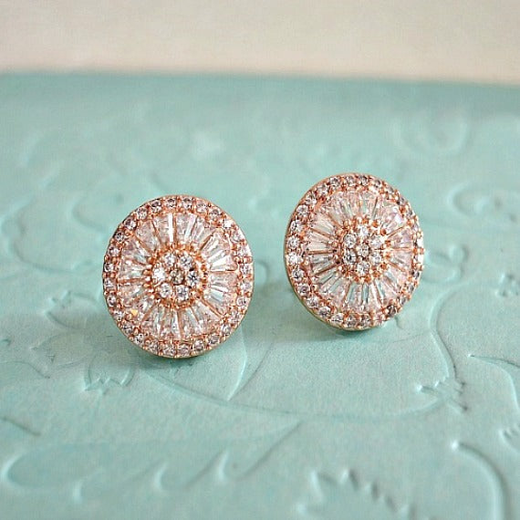 Rose Gold Wedding Stud Earrings. Round Crystal Bridal Stud Earrings. CZ Art Deco Statement Stud Earrings. Rose Gold Studs Bridesmaid Earrings