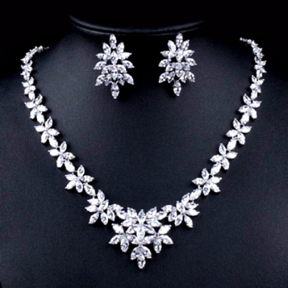 Art Deco Floral Leaves Cubic Zirconia Wedding Jewelry Set, CZ Crystal Bridal Jewelry Set, Wedding Necklace Set, Crystal Necklace Earring Set