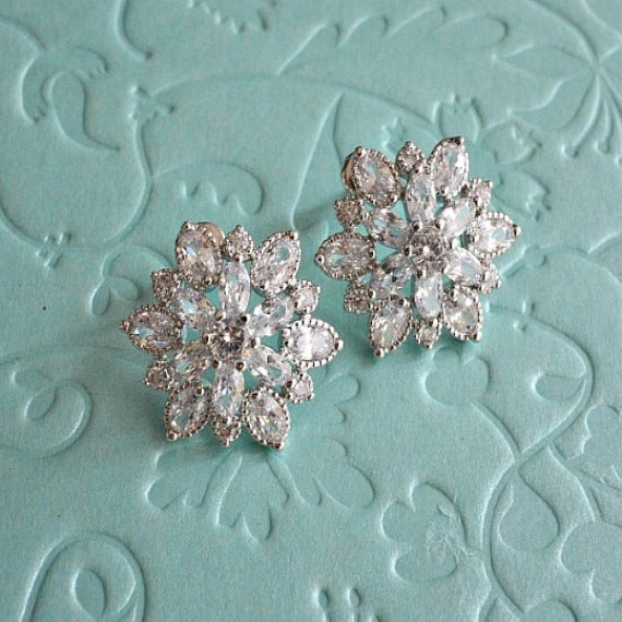 Silver Cubic Zirconia Flower Cluster Stud Earrings, Sunburst Crystal Stud Wedding Earrings, Art Deco CZ Bridal Stud Earrings