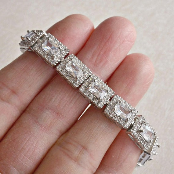 Classic Princess Cut Rectangle Bridal Bracelet, CZ Crystal Wedding Bracelet, Baguette Tennis Link Bracelet, Geometric Bridal Jewelry