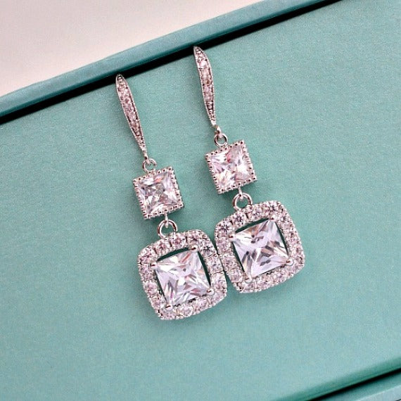 Long Princess Cut Crystal Wedding Earrings. Cushion Cut Bridal Earrings. Square Cubic Zirconia Drop With CZ Hook Earrings. Bridesmaid Gift