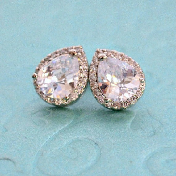 Rhodium Plated Crystal Bridal Post Studs, LUX Cubic Zirconia Teardrop Wedding Stud Earrings, Silver CZ Drop Bridesmaid Earrings