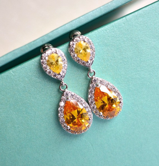 Citrine Topaz Teardrop Wedding Earrings, Sunflower Yellow CZ Crystal Drop Bridal Earrings, Yellow Wedding, Yellow Bridesmaid Earrings