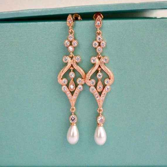 Rose Gold Pearl Drop Bridal Earrings. Pearl Crystal CZ Chandelier Bridal Earrings. Wedding Earrings. Wedding Jewelry. Bridesmaid Earrings.