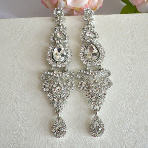 Vintage Style Long Chandelier Bridal Earrings, Rhinestone Crystal Long Wedding Earrings, Bling Prom Earrings, Bridal Wedding Jewelry