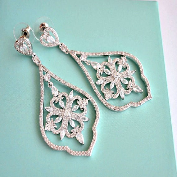 CZ Art Deco Chandelier Earrings, Cubic Zirconia Crystal Earrings, Dangle Drop Bridal Earrings, Wedding Jewelry, Vintage Wedding Earrings