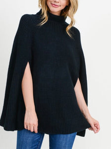 Black {State}ment Sweater Poncho